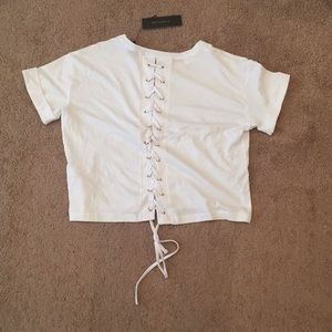 White Crop Top Lace Up (NWT)